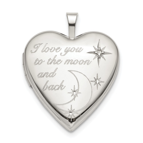 "Sterling Silver ""I love you to the moon and back"" Diamond Heart Locket - QLS820"