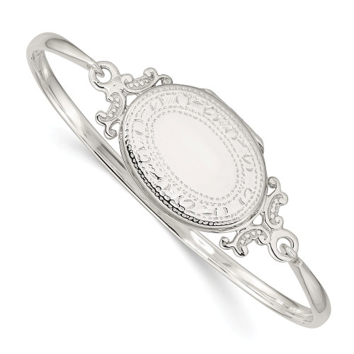 Sterling Silver Oval Locket Bangle - QB745