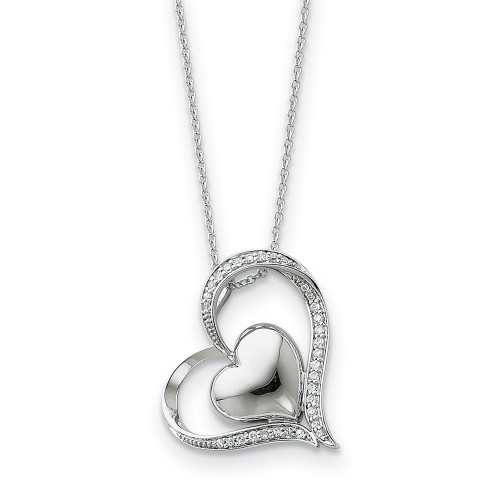 Sterling Silver and Cubic Zirconia (CZ) In My Heart 18in Necklace -QSX244