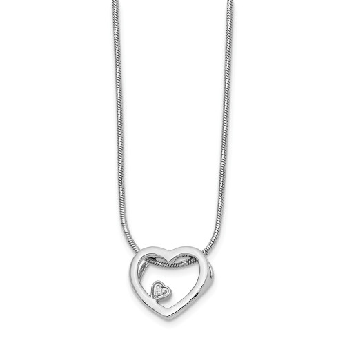 Sterling Silver White Ice Diamond Heart Necklace - QW170-18
