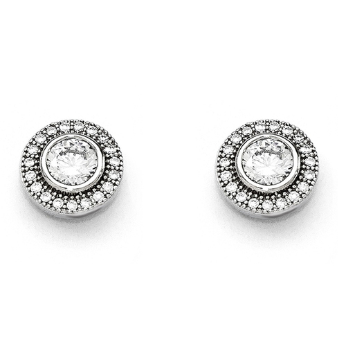 Sterling Silver Cubic Zirconia (CZ) Brilliant Embers Post Earrings - QMP328
