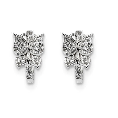 Sterling Silver Cubic Zirconia (CZ) Brilliant Embers Butterfly Hoop Earrings - QMP1168