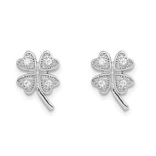 Sterling Silver Cubic Zirconia 4 Clover Children's Post Earring - QE11843