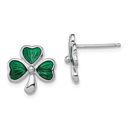 Sterling Silver Madi K Green Enamel Shamrock Post Earrings - QGK144