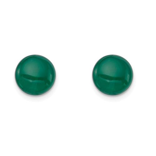 Sterling Silver 8-8.5mm Button Emerald Green Agate Post Earrings - QE6425