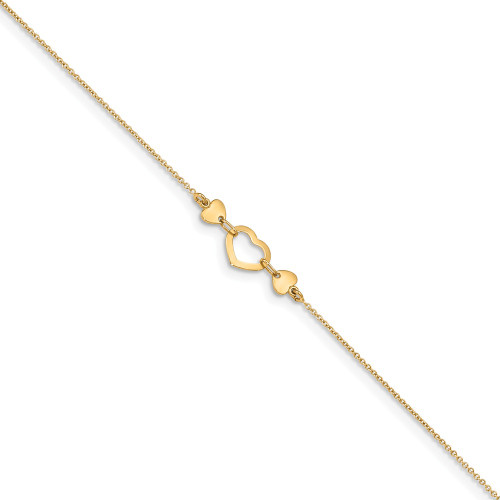 14k Yellow Gold Heart Anklet - ANK288-10