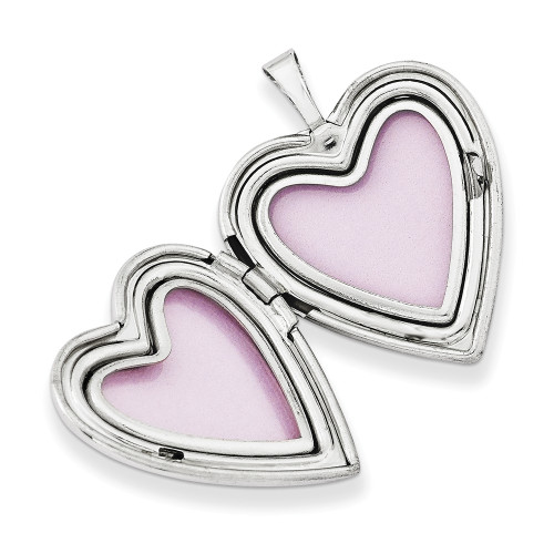 14K White Gold Breast Cancer Awareness Heart Locket - XL617