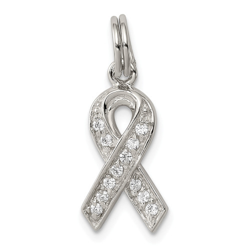 Sterling Silver Cubic Zirconia (CZ) Awareness Ribbon Pendant - QP782