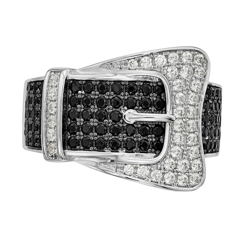 Sterling Silver Brilliant Embers Cubic Zirconia (CZ) Buckle Ring Size 6 - QMP758-6