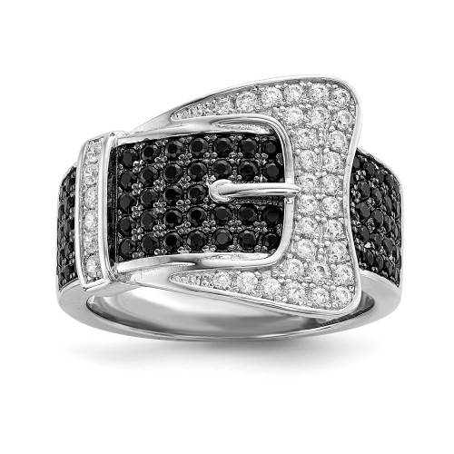 Sterling Silver Brilliant Embers Cubic Zirconia (CZ) Buckle Ring - QMP758-7