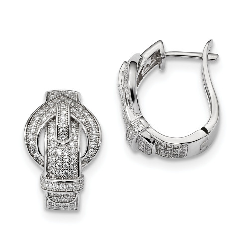 Sterling Silver Brilliant Embers Cubic Zirconia (CZ) Buckle Hinged Post Earrings - QMP1145