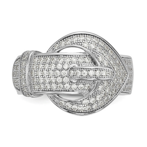 Sterling Silver Cubic Zirconia (CZ) Brilliant Embers Buckle Ring Size 6 - QMP1146-6