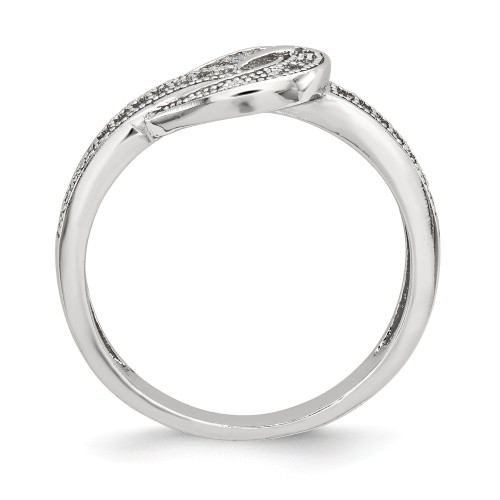 Sterling Silver Cubic Zirconia (CZ) Buckle Ring - QR6195-8