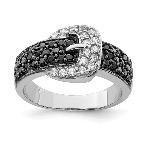 Sterling Silver Black and Clear Cubic Zirconia (CZ) Buckle Ring Size 6 - QR2752-6