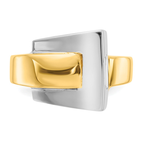 14k Two-Tone Gold Buckle Ring Size 7 - K1446