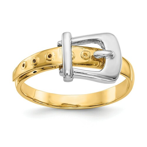 14k Two Tone Gold Buckle Ring - K5784
