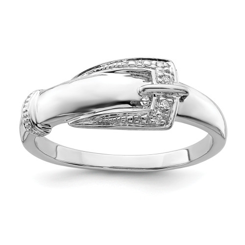 Sterling Silver Diamond Buckle Ring - QR4896-7