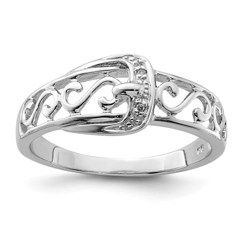 Sterling Silver Filigree Diamond Buckle Ring Size 8 - QR4895-8