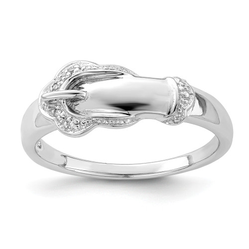 Sterling Silver and Diamond Buckle Ring Size 6 - QR4898-6