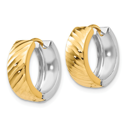 14k Two-Tone Gold Textured Hoop Earrings - TL556