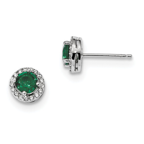 Sterling Silver White / Green Cubic Zirconia CZ Brilliant Embers Earrings - QMP1323