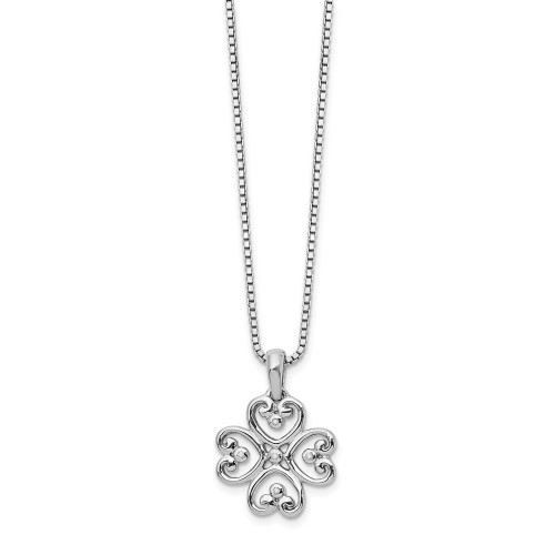Sterling Silver White Ice Diamond Heart Necklace QW337-18