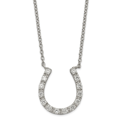 Sterling Silver Cubic Zirconia (CZ) Horseshoe Necklace QG2033-16