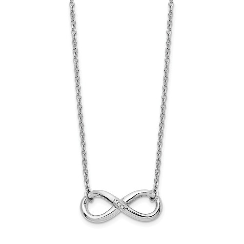 Sterling Silver White Ice Infinity Diamond Necklace QW346-18
