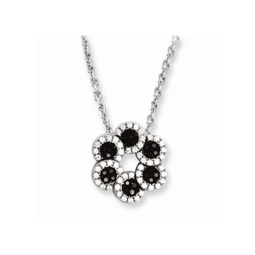 Sterling Silver Brilliant Embers Cubic Zirconia (CZ) Flower Necklace QMP781-18