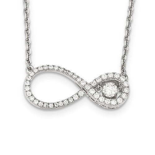 Sterling Silver Cubic Zirconia (CZ) Infinity Necklace QC9000-16