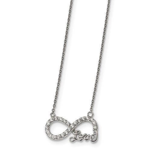 """Sterling Silver Cubic Zirconia (CZ) Inifinity """"Love"""" Necklace  QG4399-18"""