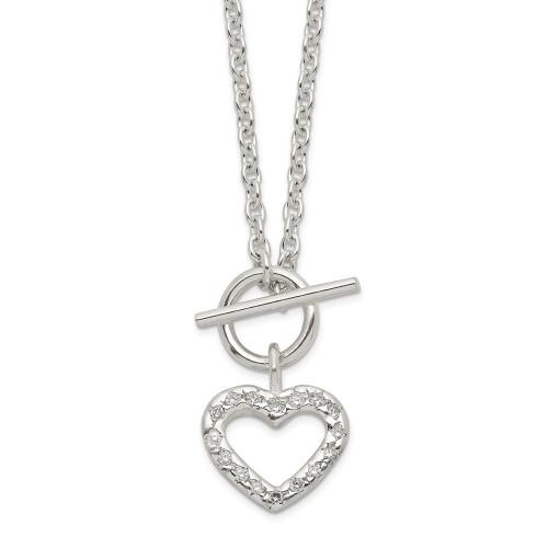 Sterling Silver Cubic Zirconia (CZ) Heart Tag Necklace QG2528-18