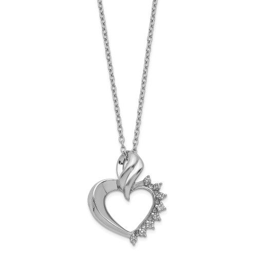 Sterling Silver Heart Diamond Necklace QG2038-18
