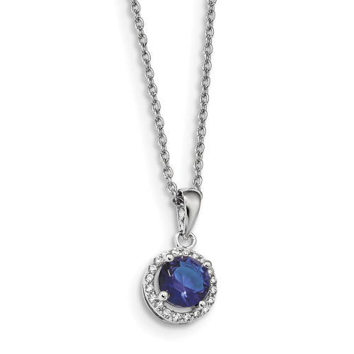 Sterling Silver Brilliant Embers White / Blue Cubic Zirconia (CZ) Necklace QMP1334-18