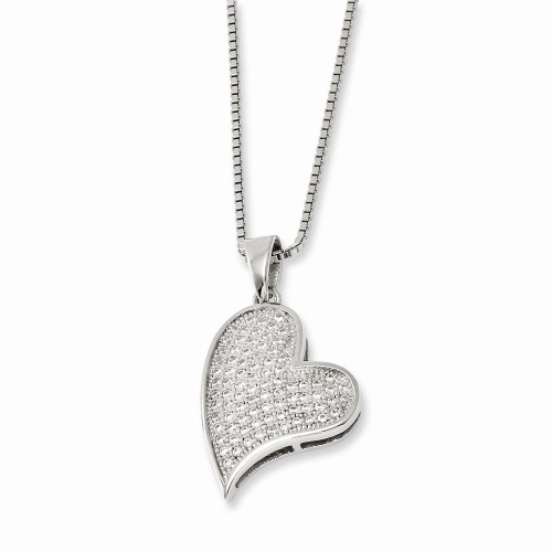 Sterling Silver Brilliant Embers Cubic Zirconia (CZ) Heart Necklace QMP340