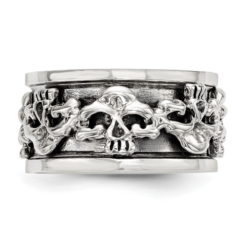 Sterling Silver Spinning Center Antiqued Skull Ring Size 10 QR6776-10
