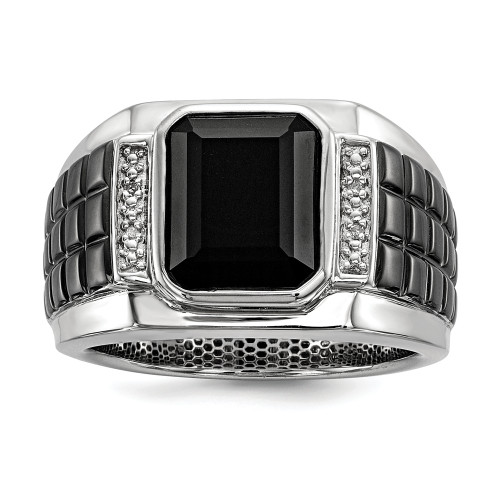 Men's Sterling Silver Diamond and Onyx Ring Size 9 QR5559