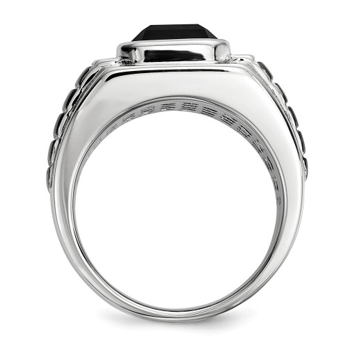 Men's Sterling Silver Diamond and Onyx Ring Size 10 QR5559