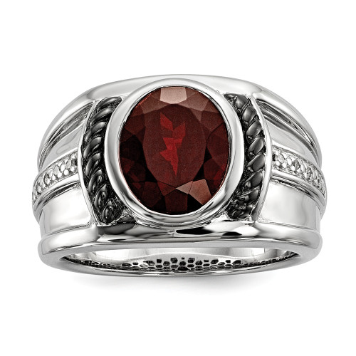 Men's Sterling Silver Oval Garnet and Diamond Oval Ring Size 10 QR5549GA