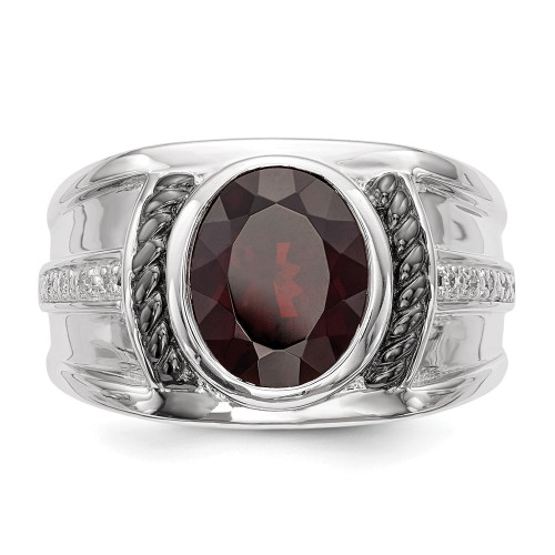 Men's Sterling Silver Oval Garnet and Diamond Oval Ring Size 9 QR5549GA