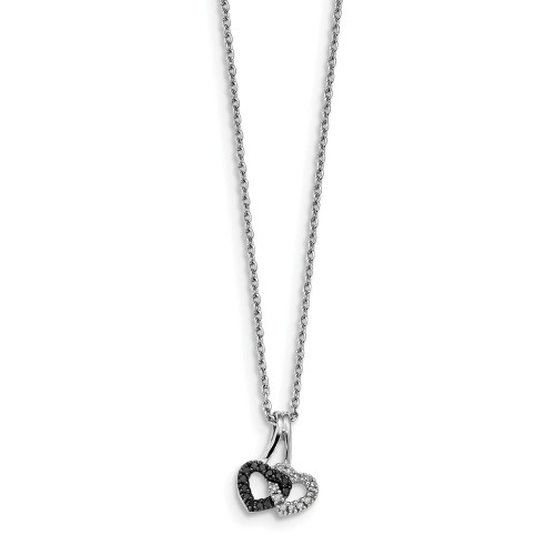 Sterling Silver Black And White Diamond Double Heart Pendant Necklace QP3757