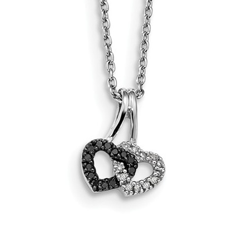 Sterling Silver Black and White Diamond Double Heart Pendant Necklace