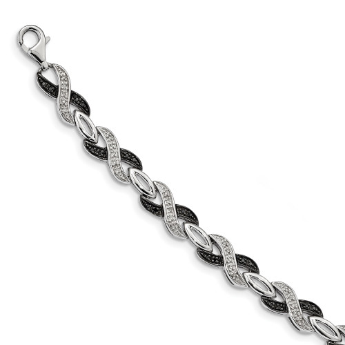 Sterling Silver Black and White Diamond Bracelet QDX1220