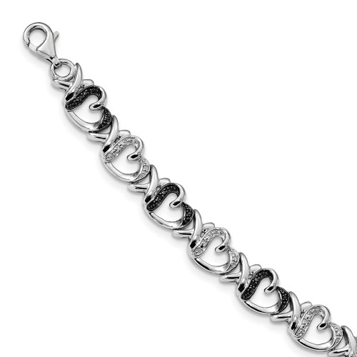 Sterling Silver Black and White Diamond Heart Bracelet QDX1212