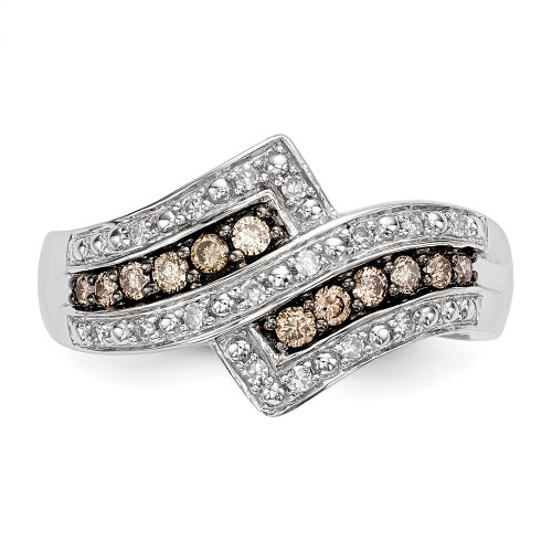 Sterling Silver Champagne Diamond Fancy Two Lined Ring Size 6 QR5136