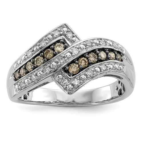 Sterling Silver Champagne Diamond Fancy Two Lined Ring Size 7 QR5136