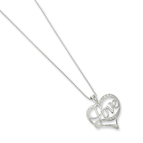 Sterling Silver Diamond Heart Love Necklace QG2672-16