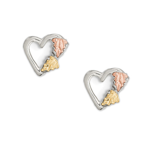 Sterling Silver and 12K Gold Small Heart Post Earrings