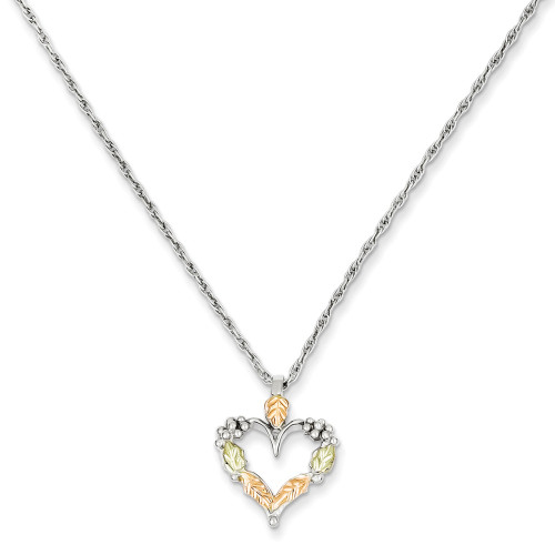 Sterling Silver and 12K Heart Necklace QBH104-18