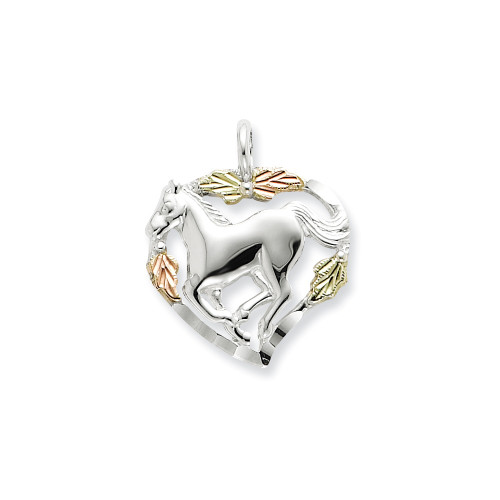 Sterling Silver and 12K Horse In Heart Necklace QBH170-18